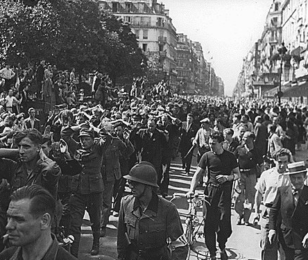 German POWs paraded through Paris, August 25 1944.