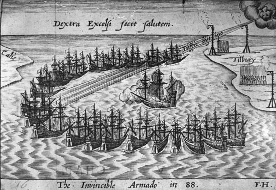 spanish armarda The spanish armada set sail from spain in july 1588, with the mission of overthrowing the protestant queen elizabeth i and restoring catholic rule over england.
