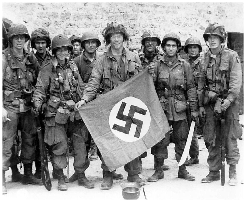 U S  Marines Posing With Symbol Resembling the Nazi