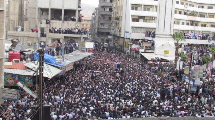 Syria Damascus Protests